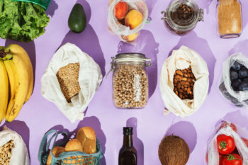 pantry and food ingredients on a purple background