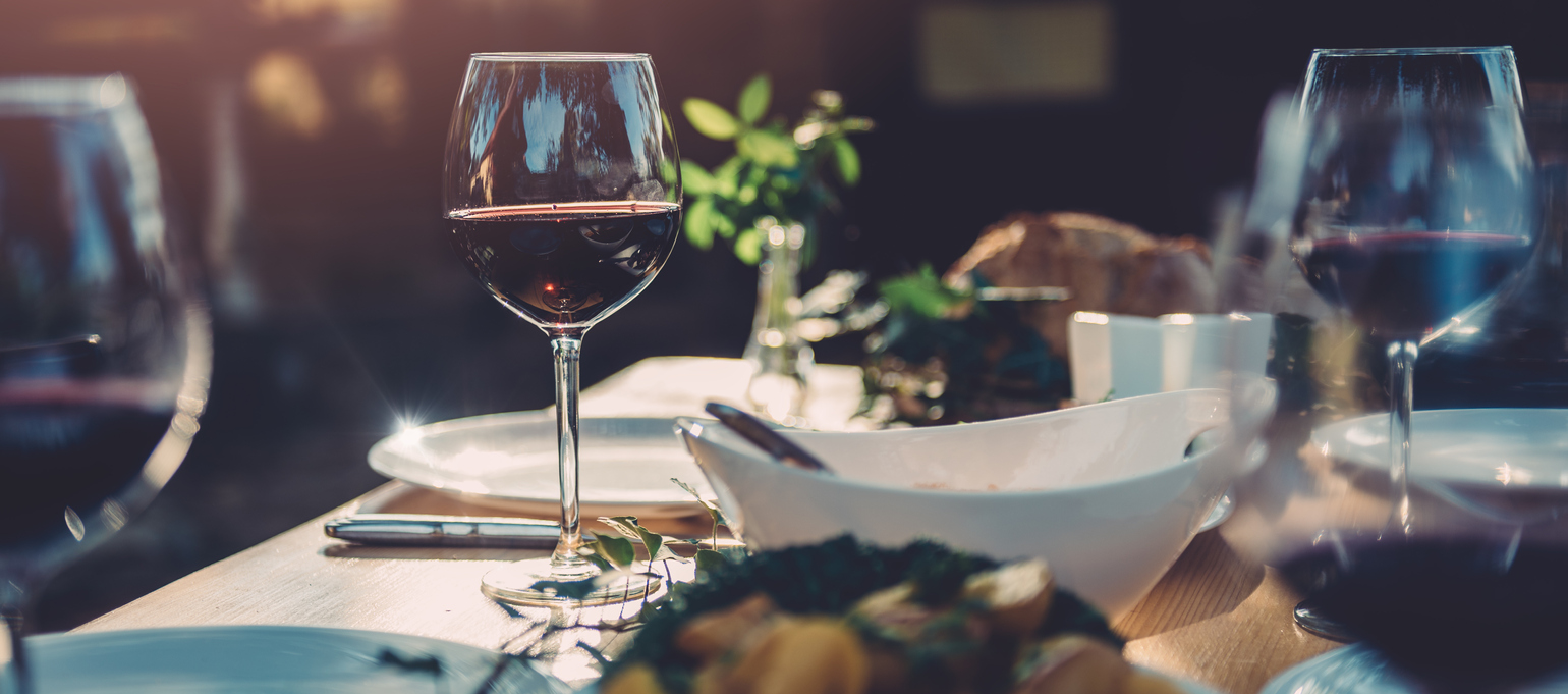 Food and wine on a table