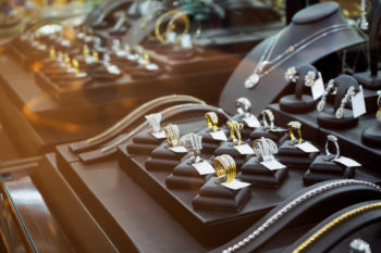 A jewelry case display full of jewelry