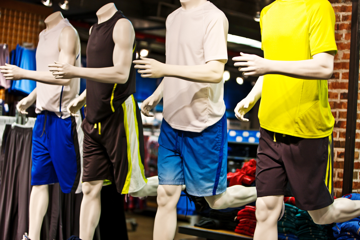 A row of mannequins wearing athletic clothing - Dallas sporting goods stores